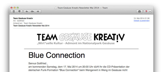 Team Gesäuse Kreativ Newsletter Mai 2014